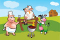 Pig, sheep and cow at barbeque picnic Royalty Free Stock Photo