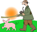 Pig shepherd cartoon style illustrated Royalty Free Stock Image
