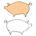 Pig silhouette and outline of a on a white background vector Royalty Free Stock Photo