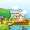 A pig standing above the trunk with a turtle at the pond illustration of Royalty Free Stock Photo