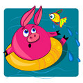 Pig swimming in ocean. card illustration Stock Photos