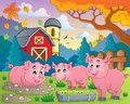 Pig theme image eps vector illustration Royalty Free Stock Image