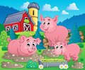 Pig theme image eps vector illustration Stock Image