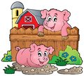 Pig theme image eps vector illustration Royalty Free Stock Photo