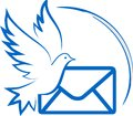 Pigeon dove letter flying send receiving image bird e post freedom sky blue religion document private feather connection animal Royalty Free Stock Photos