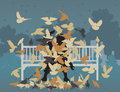 Pigeon park editable vector illustration of a man on a bench smothered by pigeons Stock Photography
