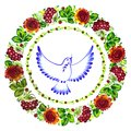 Pigeon peace decorative circlet of flowers hand drawn illustration in ukrainian folk style Stock Photos