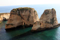 Pigeon rocks in beirut raouche district lebanon middle east Royalty Free Stock Photo