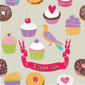 Pigeon and various cakes print