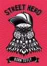 Pigeon vector vintage emblem. Dove head with baseball cap cartoon illustration. Bird color illustration. Tattoo style