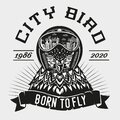 Pigeon vector vintage emblem. Dove head cartoon illustration. Bird with pilot helmet. Tattoo style animal print.