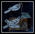 Pigeons mosaic from the house of the faun in pompeii Stock Image