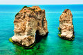 Pigeons' Rock in Beirut Stock Images