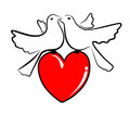 Pigeons symbolic illustration of two and a red heart Stock Photos