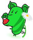 Piggie graphic illustration of green Royalty Free Stock Images
