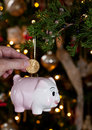 Piggy bank as xmas decoration Stock Images