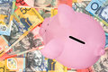 Piggy Bank on Australian Money Royalty Free Stock Image