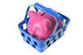 Piggy bank in basket on white background Stock Photos