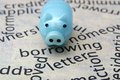 Piggy bank and borrow concept close up of Royalty Free Stock Photography