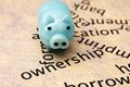 Piggy bank and borrow concept close up of Royalty Free Stock Images