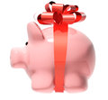 Piggy bank with bow isolated on white background Stock Photos