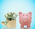 Piggy bank with a box of bills pink money on blue background Royalty Free Stock Photo