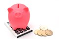 Piggy bank and Calculator and japanese coin. Stock Image