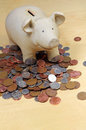 Piggy bank and coins. Stock Photo
