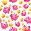 Piggy Bank and coins in white Seamless background Royalty Free Stock Images