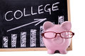 Piggy bank with college savings or fees chart pink glasses standing in front of a blackboard simple Stock Photo