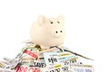 Piggy bank on coupons one ceramic standing top of a pile of saving money concept Stock Photos