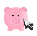 Piggy bank and cursor illustration design over a white background Royalty Free Stock Photos