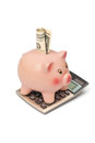 Piggy bank with dollar on calculator Stock Photo