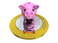 Piggy bank on euro coin happy pink concept of savings and investments isolated white background Royalty Free Stock Images