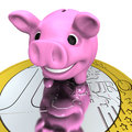 Piggy bank on euro coin happy pink concept of savings and investments isolated white background Stock Photography