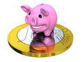 Piggy bank on euro coin pink concept of savings and investments isolated white background Stock Photos