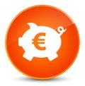 Piggy bank euro sign icon elegant orange round button