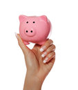 Piggy bank in female hand isolated on white savings background Stock Image