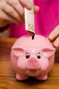 Piggy bank with fifty euro note Royalty Free Stock Photography