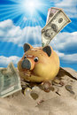 Piggy Bank - Financial Crisis Royalty Free Stock Photography