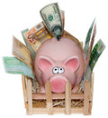 Piggy bank is full on white background the money has to be beside the since it of banknotes and coins Stock Images