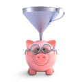 Piggy bank funnel with to get all the coins with clipping path included Stock Image