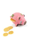Piggy bank and gold coins on white background Royalty Free Stock Photo