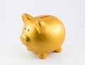 Piggy bank in gold color on left side Royalty Free Stock Photo