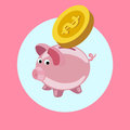 Piggy bank with golden coin flat design vector Royalty Free Stock Photo