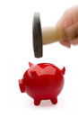 Piggy bank with Hammer Stock Photos