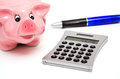 Piggy bank and a hand calculator Royalty Free Stock Photos