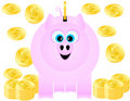 A Piggy Bank Happily Receives Gold Coins Royalty Free Stock Photography