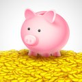 Piggy bank on heap of gold coin illustration falling into showing saving concept Stock Photos