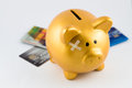 Piggy bank hurt from debt concept Royalty Free Stock Photo
